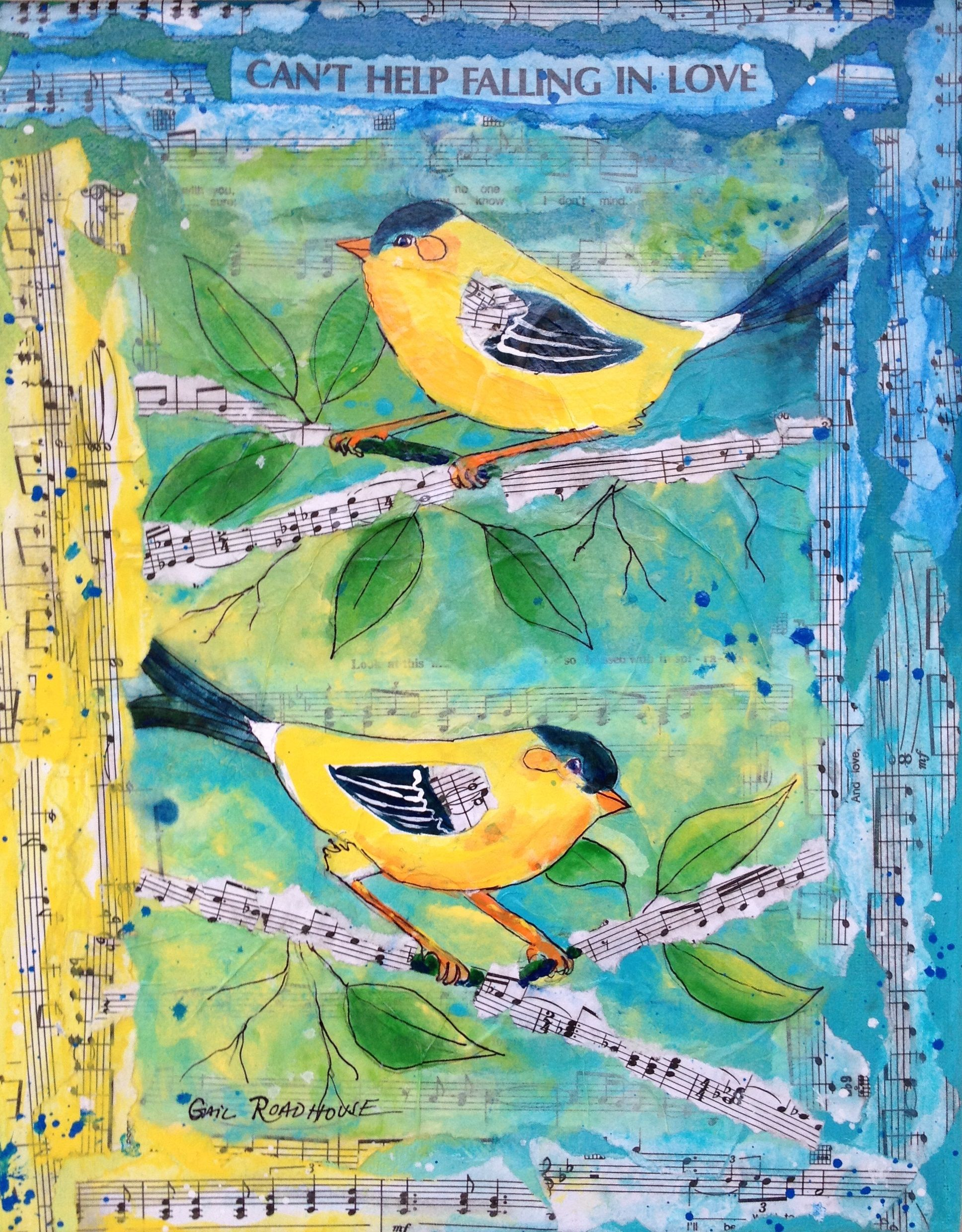 The Washington State Bird Goldfinch Drawn And Painted On