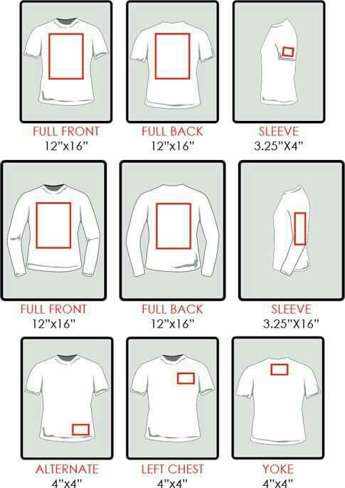 Chart re sizing of decals for shirts. Silhouette ...