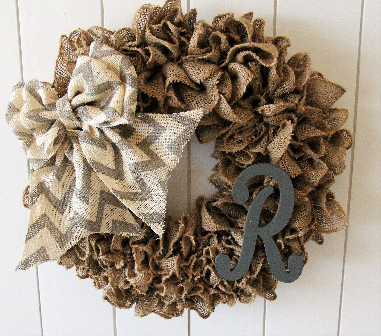 Everyday Burlap Wreath Gray Monogram Burlap Wreath Monogram Burlap Wreath
