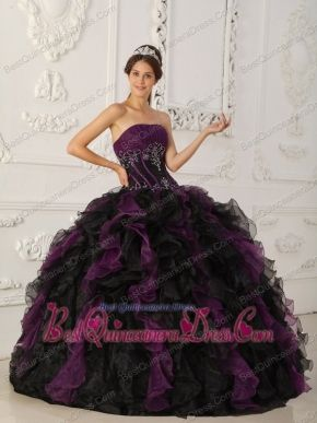 25f7b8abff3 Purple and Black Ball Gown Strapless Floor-length Taffeta and Organza  Beading Quinceanera Dress
