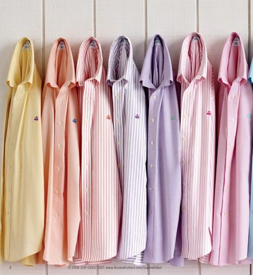 A pastel rainbow of Brooks Brothers oxfords