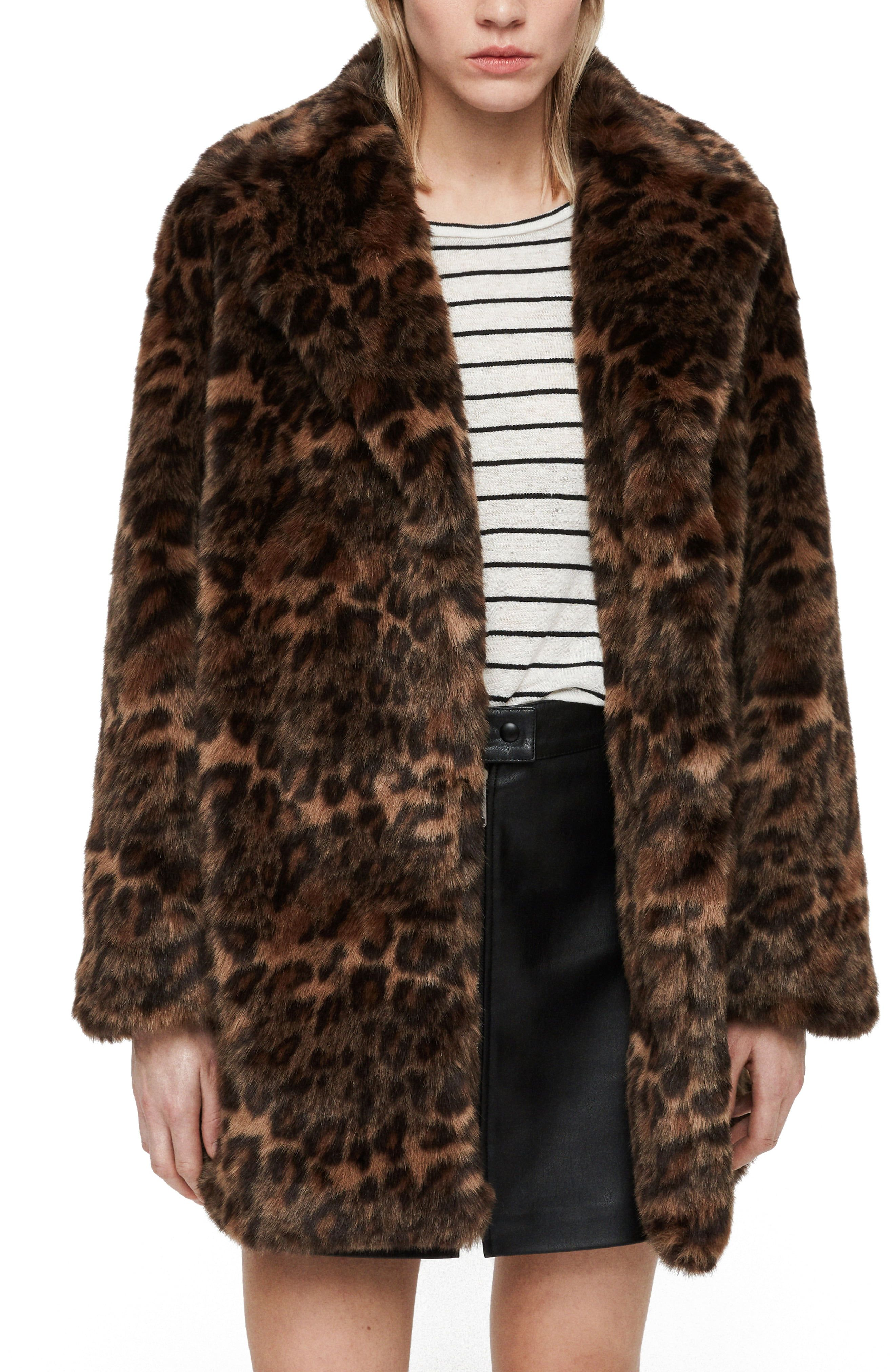 d57d76637760 Women's Allsaints Amice Leopard Spot Faux Fur Jacket, Size Large - Brown