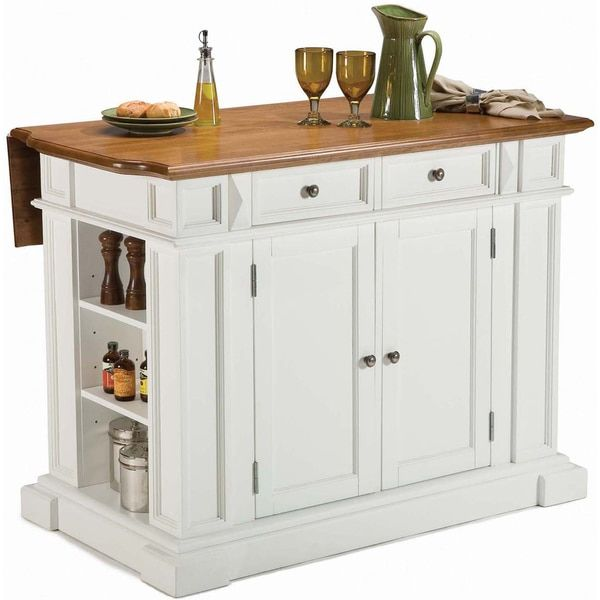 White Distressed Oak Kitchen Island by Home Styles ...