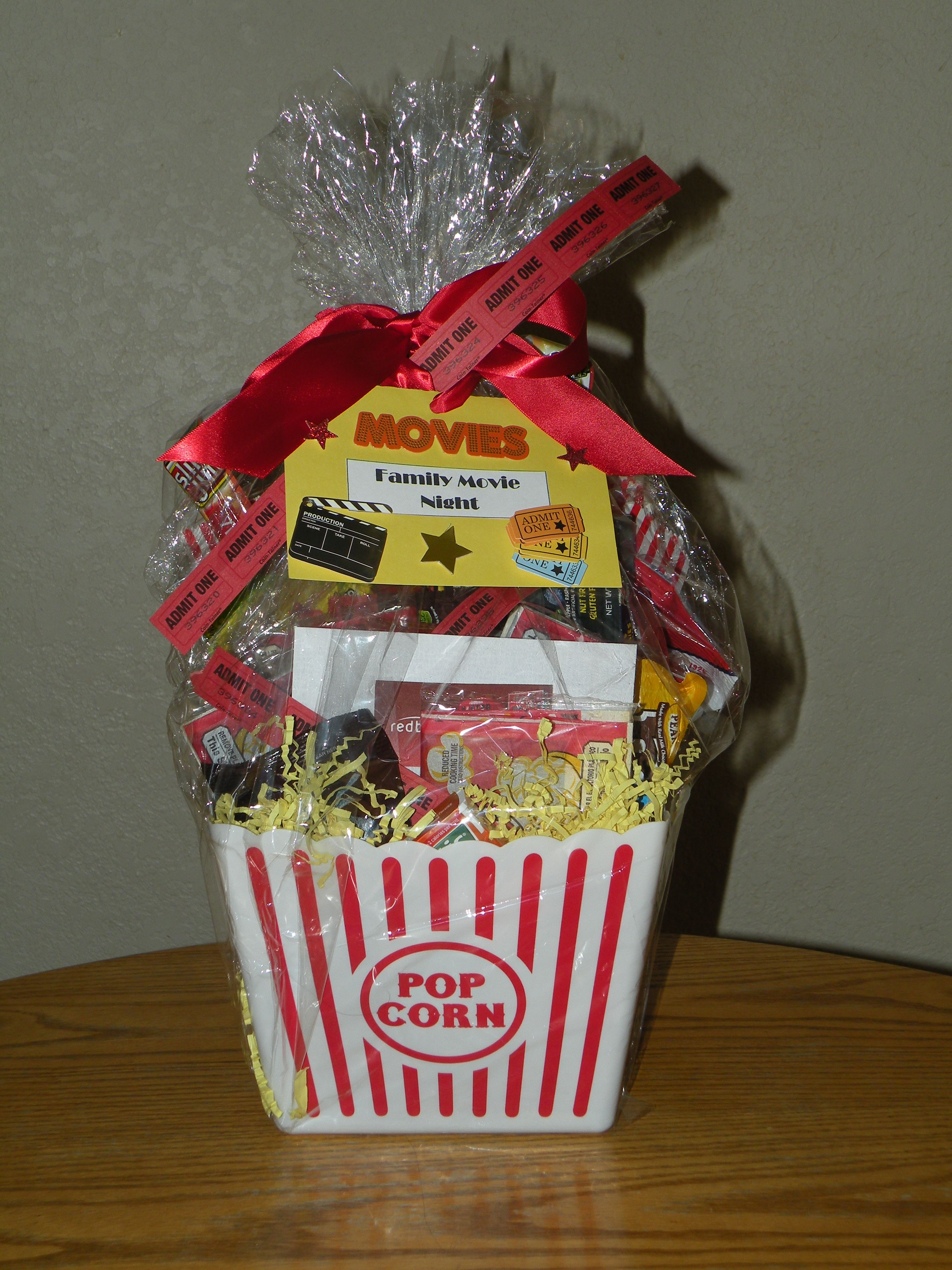 Family Movie Night Gift Basket for Silent Auction. Popcorn