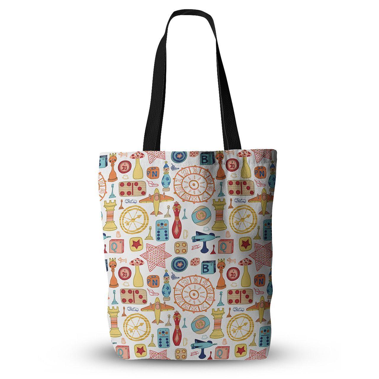 "Jane Smith ""Vintage Games"" Orange Yellow Everything Tote Bag"