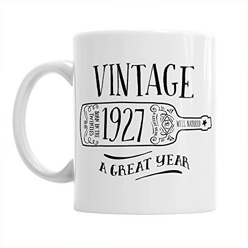 90th Birthday Gift Gifts For Men Women 1927 Vintage Wine Coffee Mug Click Image To