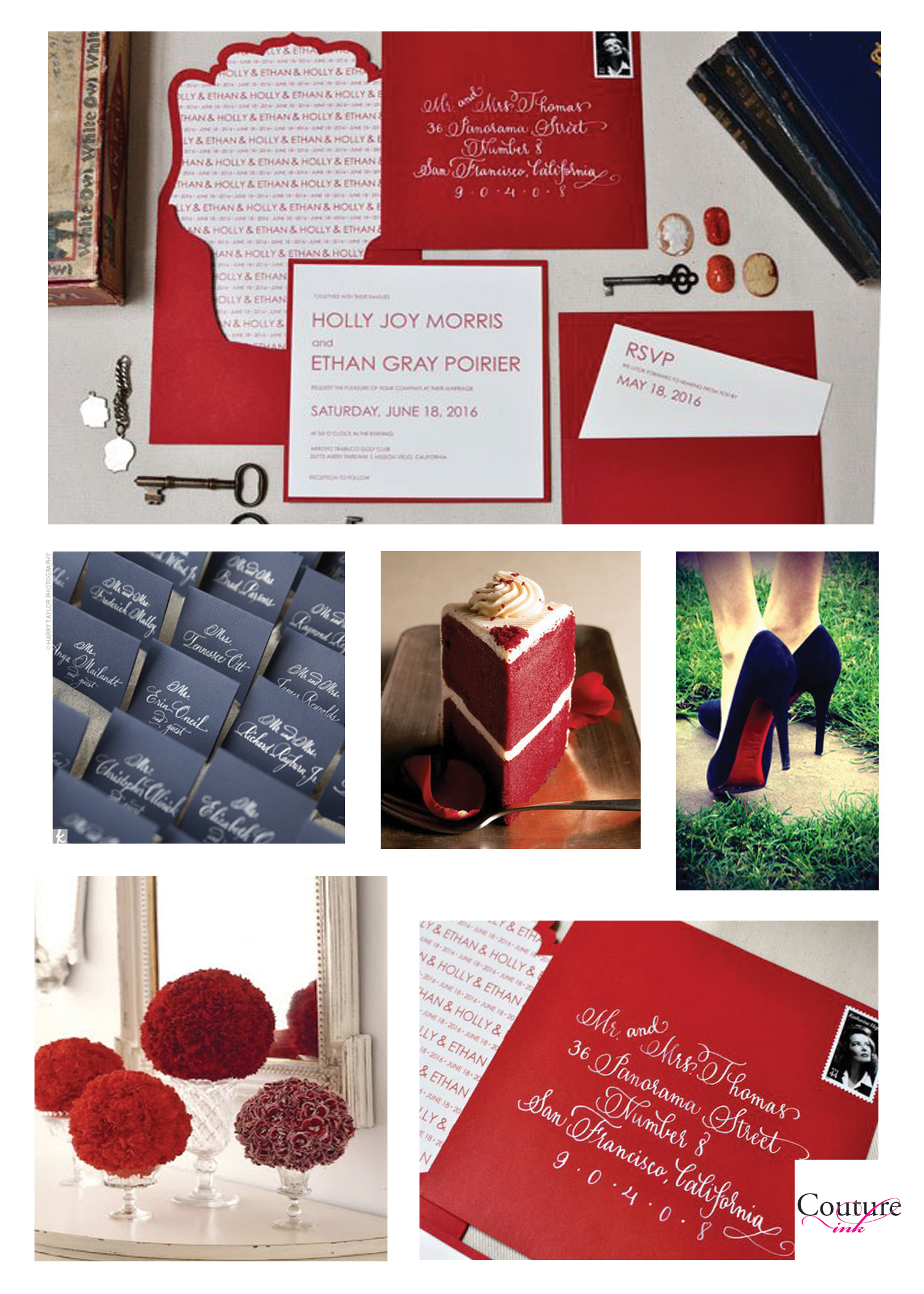blissfully redy! (red and navy wedding ideas)///invitations and ...