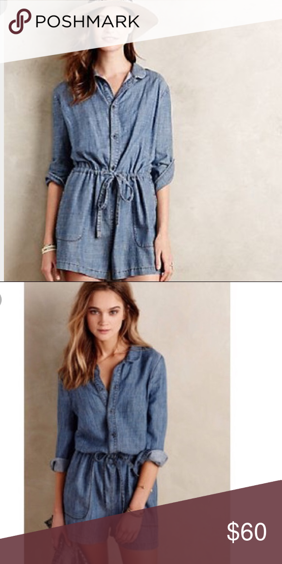 86dba6cb399d Anthropologie Level 99 Chambray Romper Only worn twice! Like new! Fits TTS.  Very comfy. Anthropologie Shorts