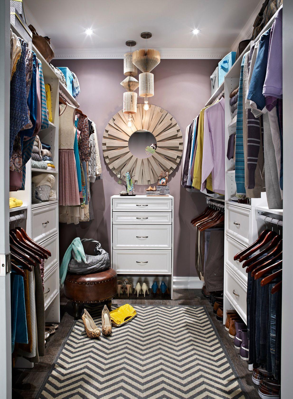 Master Bedroom Closet With ClosetMaid DIY Laminate Shelving In White.