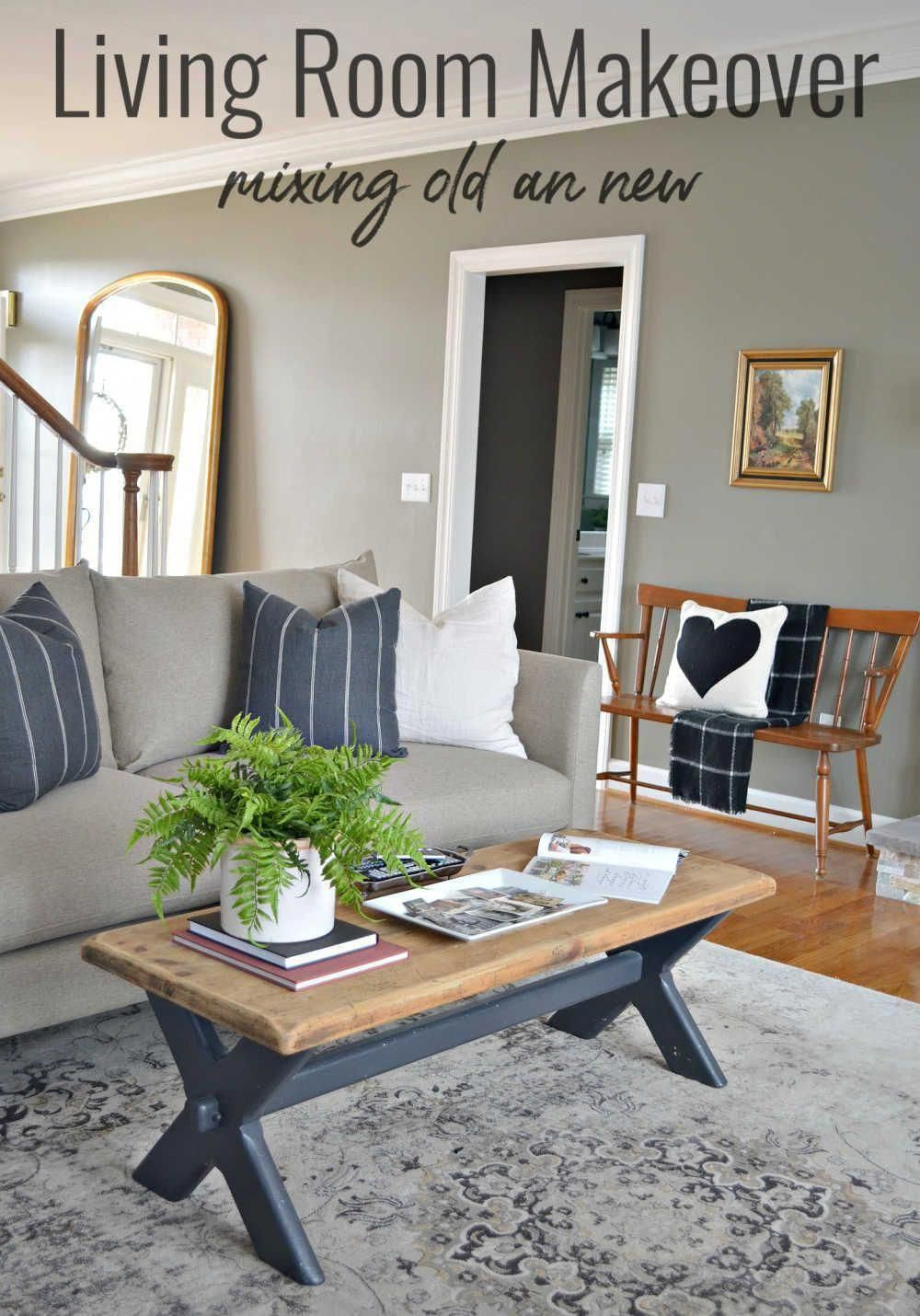 Creating a cozy living room using new pieces from @bassettUS and mixing with existing homeowner pieces. This living room makeover is a trendy version of country modern style. #inpartnership #mybassett #bassettfurniture #homedecor #homedesign #ModernHomeDecorLivingRoom #countryhomedecor