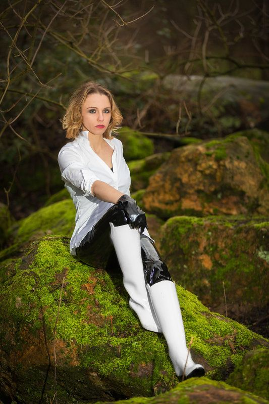 Black pvc pants and gloves with white high heel rubber