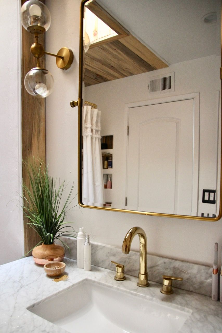 Photo of Before And After: Black and White (And Wood and Gold) Bathroom – Ramshackle Glam