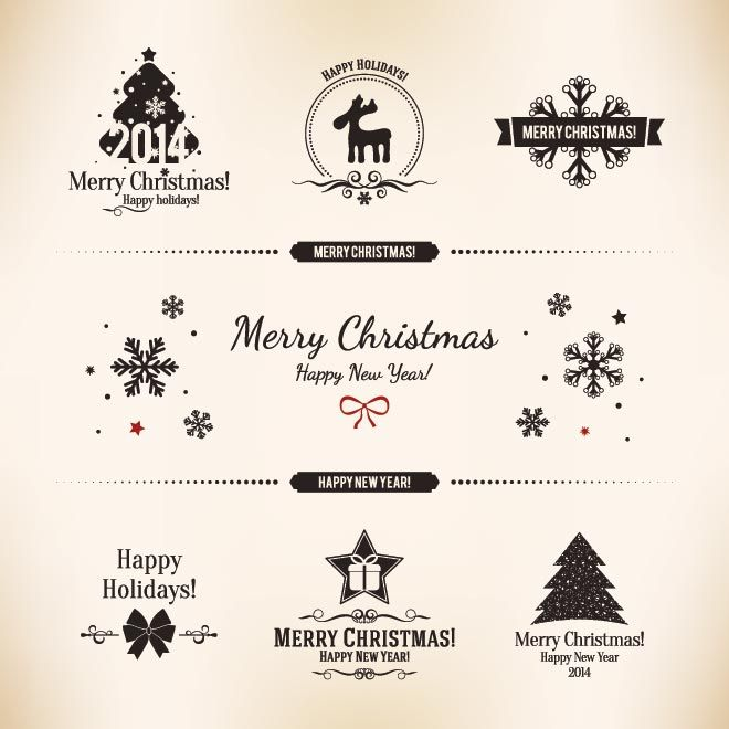 free vector vintage label card merry christmas logo design elements illustration - Merry Christmas Logos