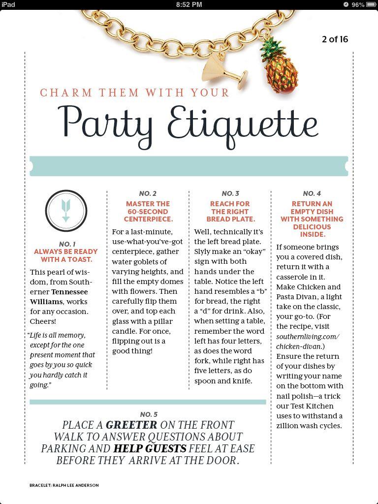 Party Etiquette charmetiquettecom Thats Entertaining Pinterest