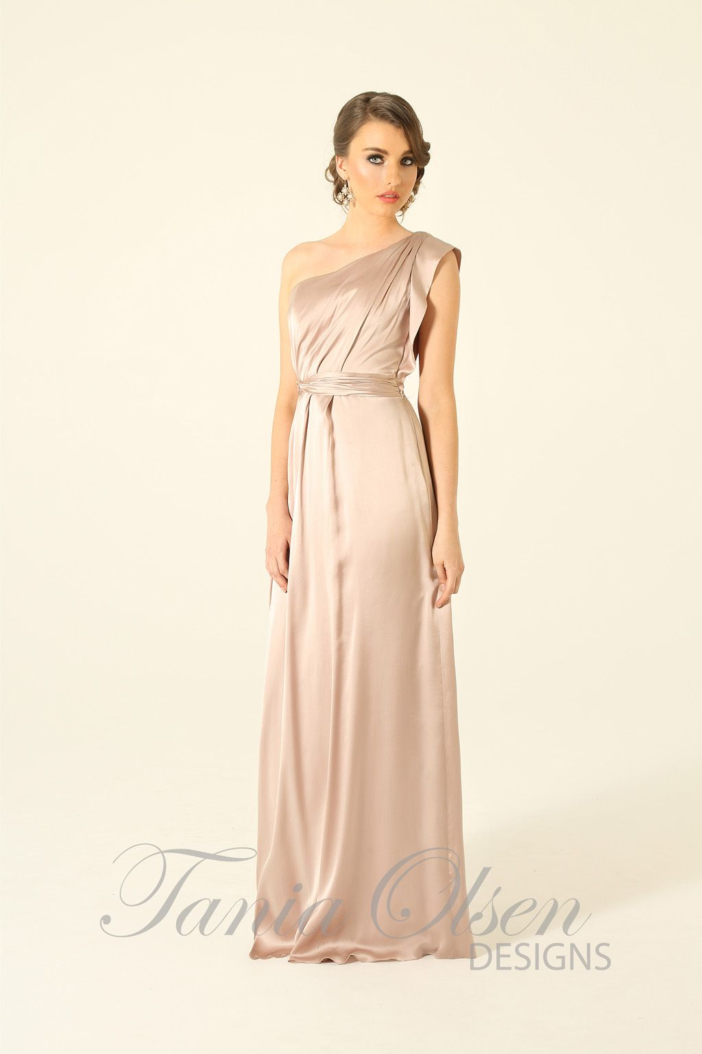 Elegant silk one shoulder oyster evening dress by Tania Olsen ...