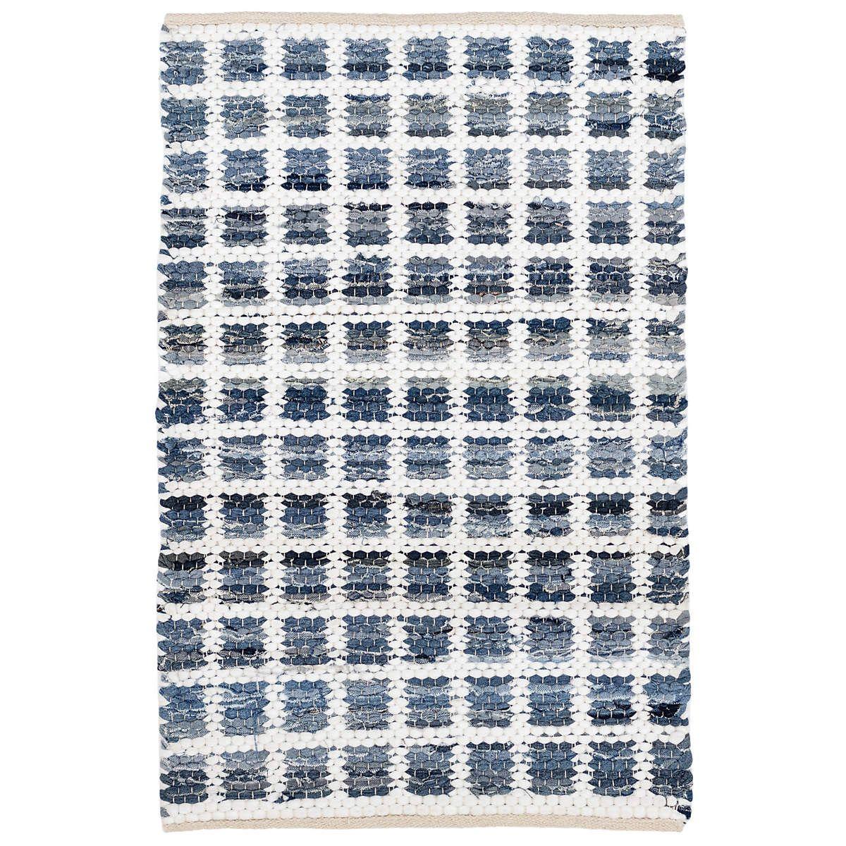 Denim Rag Squares Woven Cotton Rug Dash Albert In 2020 Cotton Rug Cotton Area Rug Cotton Rag Rug