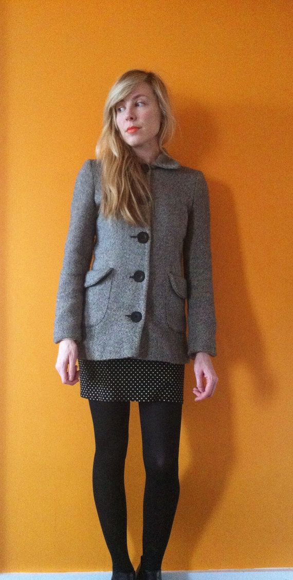 Vintage black and white tweed princess coat  xs/s by holymess, £26.00