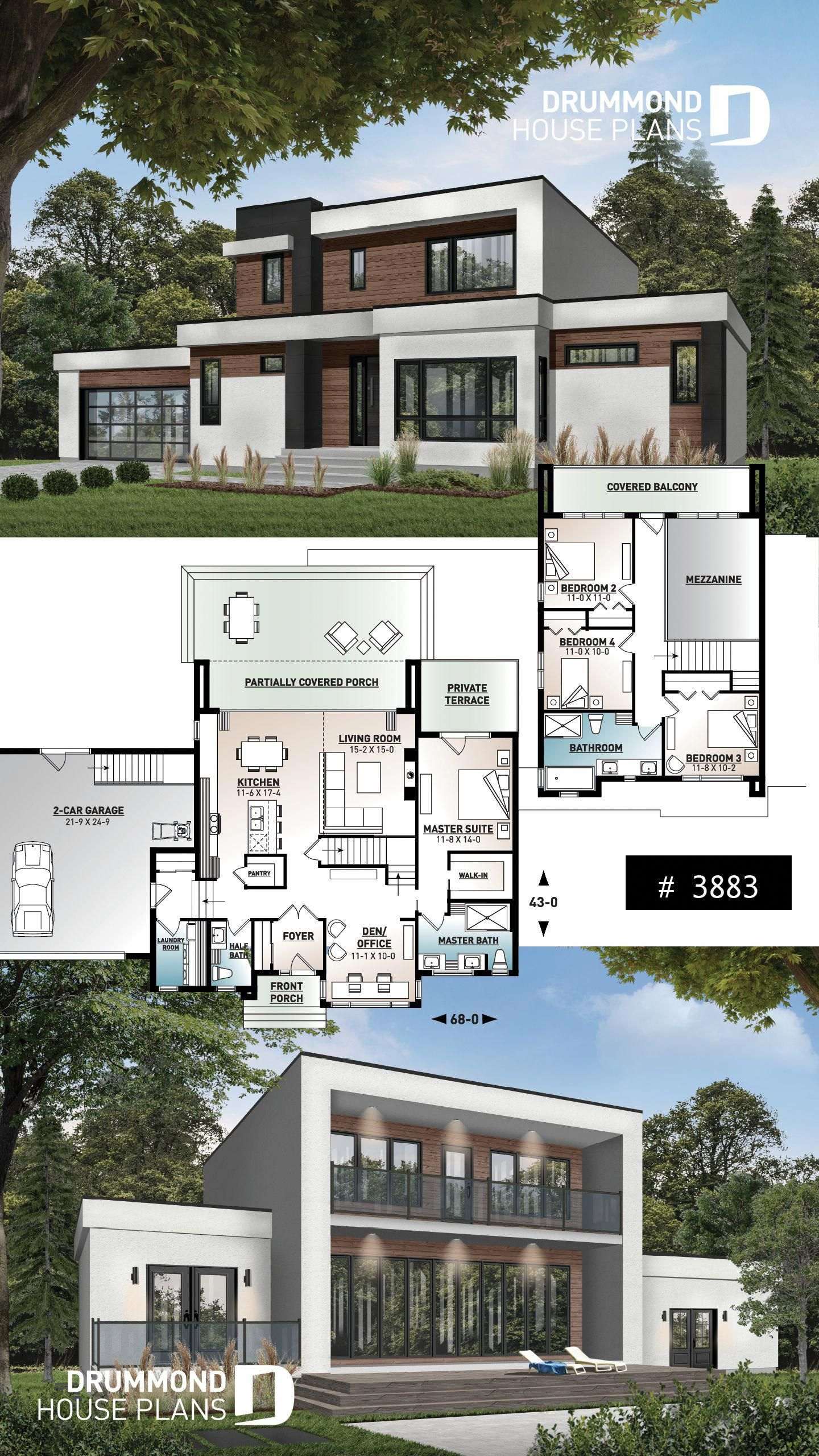 Modern Cube Shaped House Plan Master Suite 4 Bedrooms Open Floor Plan Home Office 2 Car Ga Sims House Plans Craftsman House Plans Modern House Floor Plans