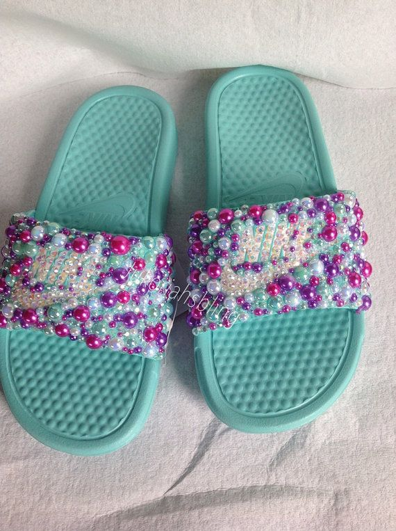 69b9d597c79084 Bling nike slides nike shoes accessories by Jukoriahsbling on Etsy ...