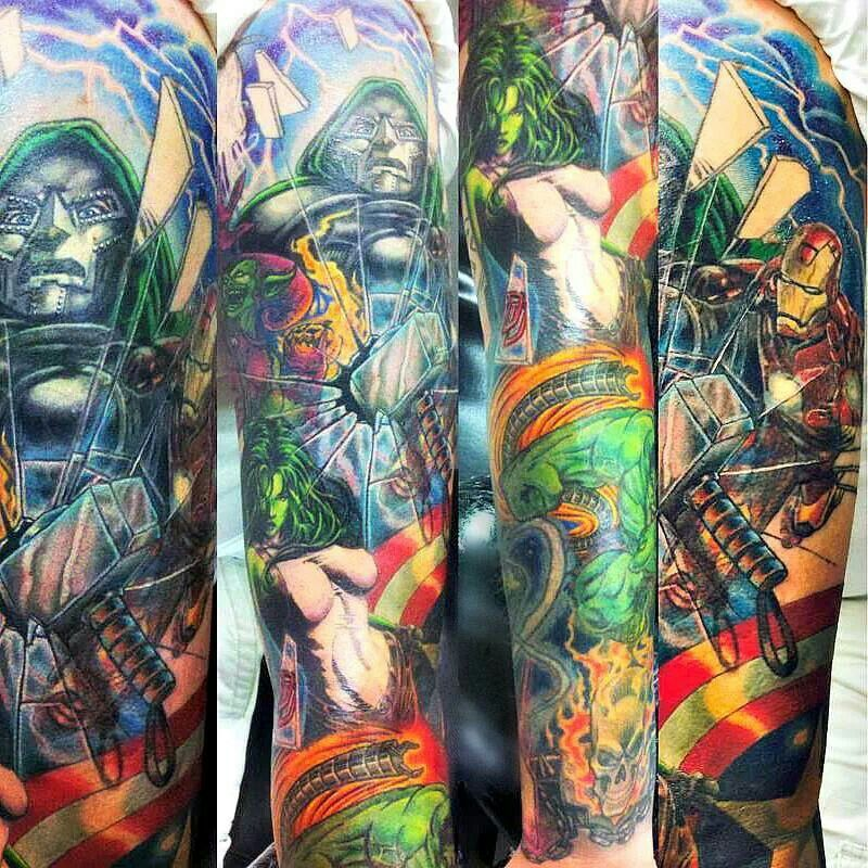 Marvel sleeve great tattoo work pinterest marvel for Tattoo places in dc