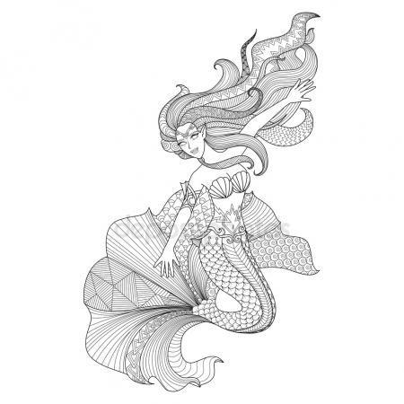 Zentangle detallada de sirena para colorear página | L Muñequitas 06 ...