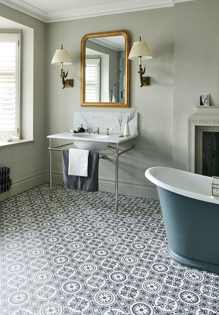 Fake It With Patterned Vinyl Floor Tiles Vinyl Flooring Bathroom