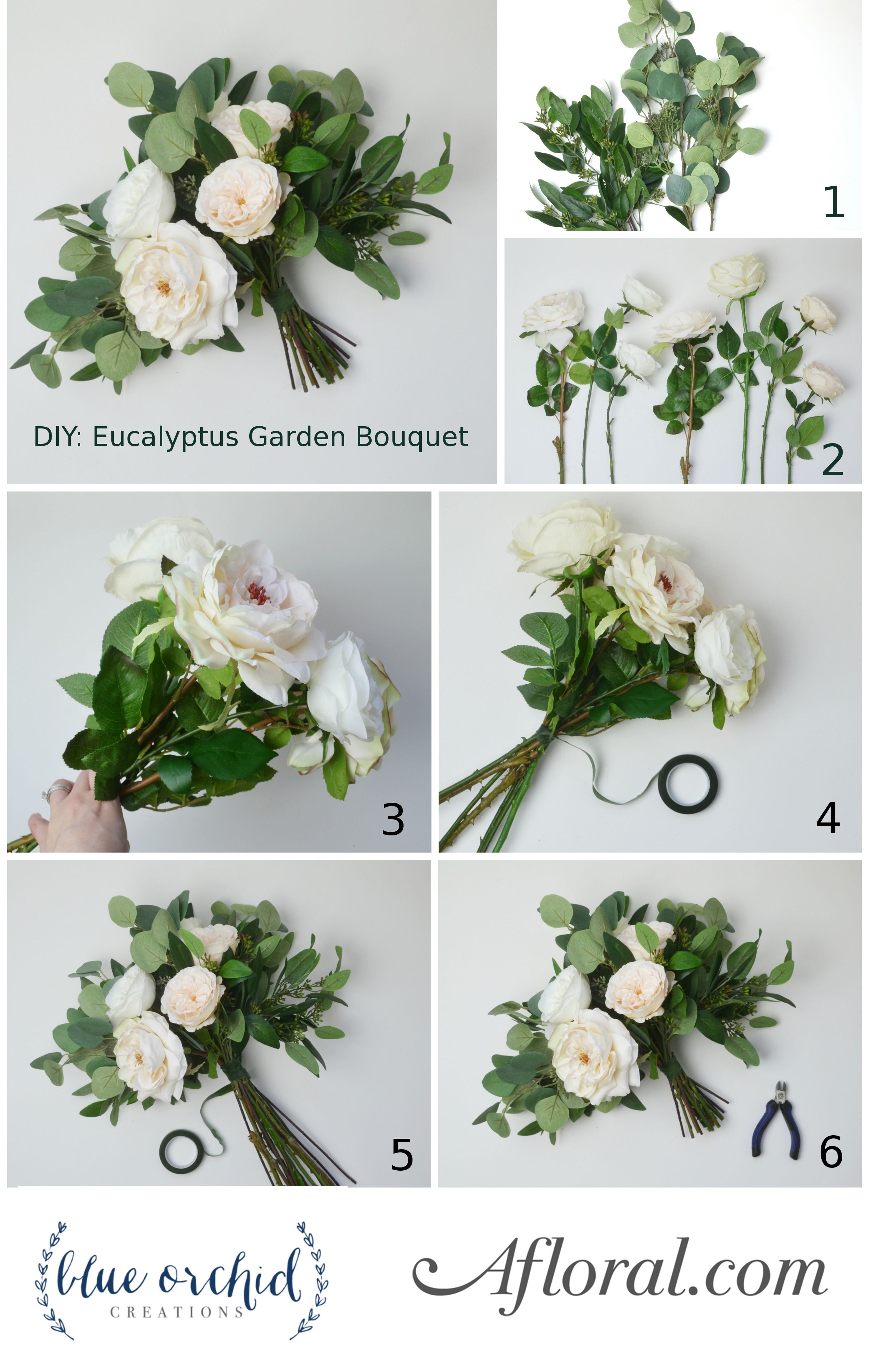 Cream white eucalyptus bouquet silk flowers bridal bouquets and get ready to make a bridal bouquet for your wedding follow this bouquet diy from silk flower designer blue orchid creations and walk down the aisle with a izmirmasajfo