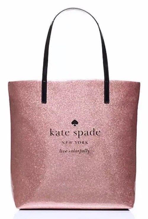 Nwt Kate Spade Bon Per Holiday Drive Rose Gold Glitter Tote Bag Ebay Need Want Pinterest And Holidays