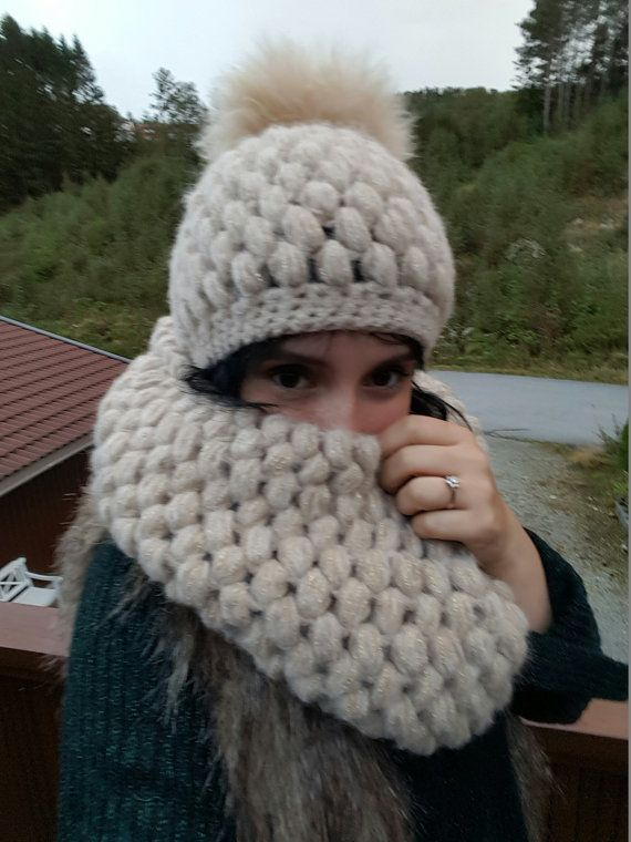 Puffy crocheted winter set beanie infinity by Ohmightyalpaca