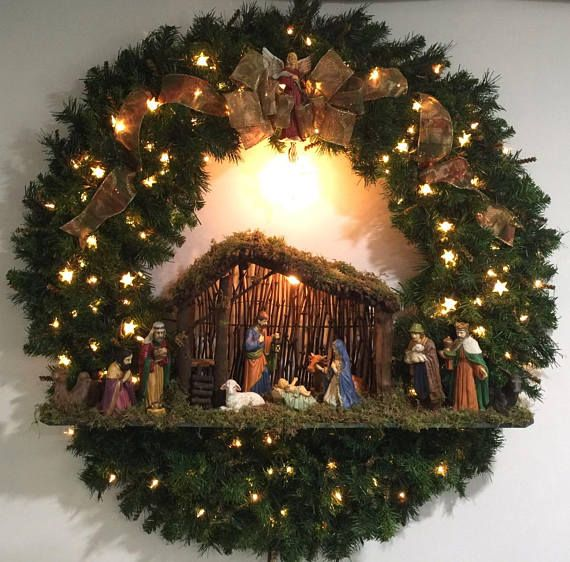 Items similar to Huge 48 Christmas Wreath with Porcelain Nativity! Original OOAK on Etsy
