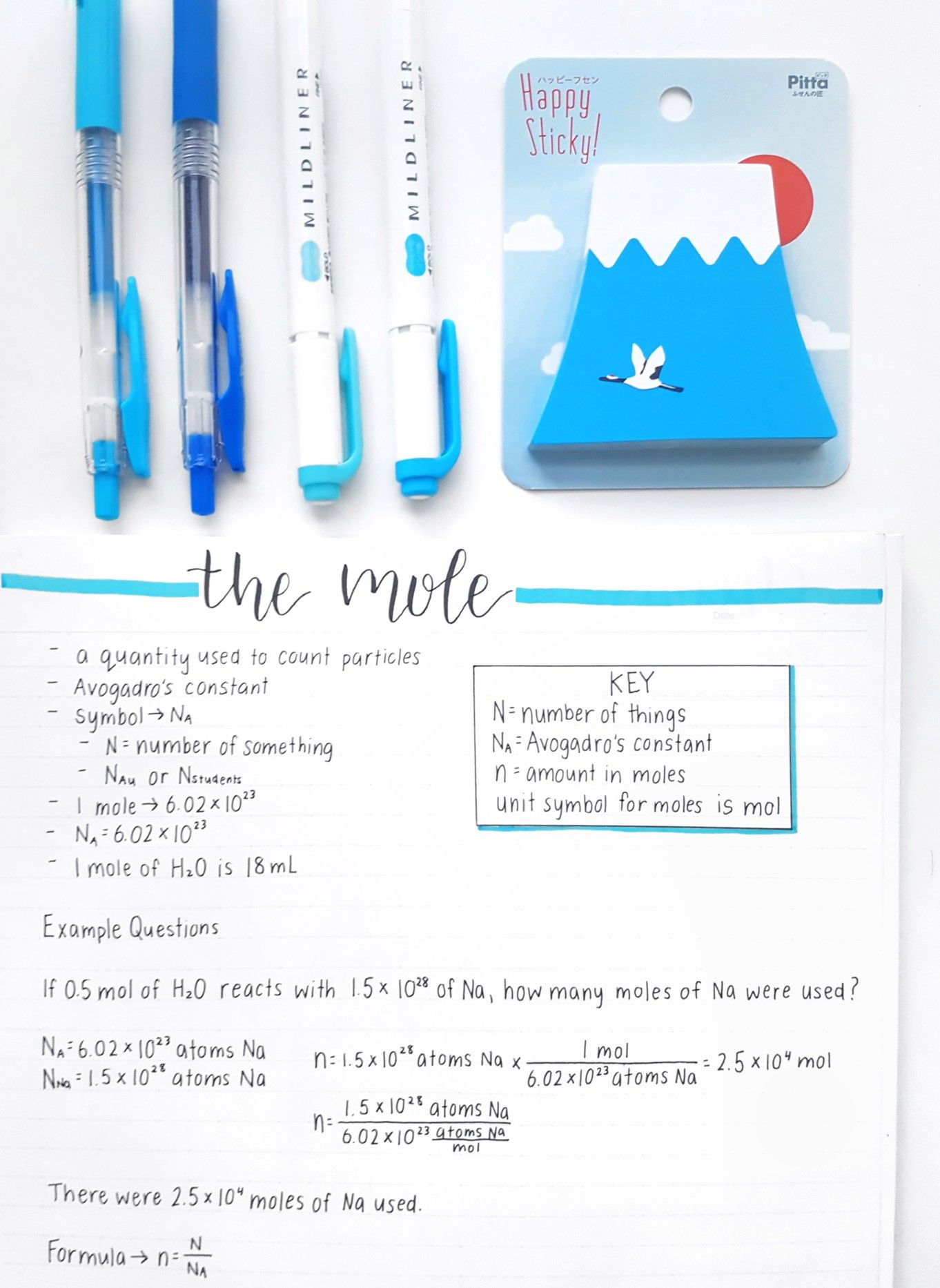 Chemistry Notes The Mole Chemistry Education Chemistry Notes Study Notes
