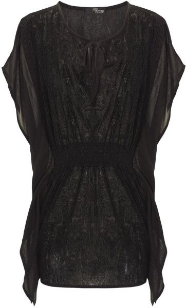 Jane Norman Black Black Square Flock Kimono #black #style #fashion