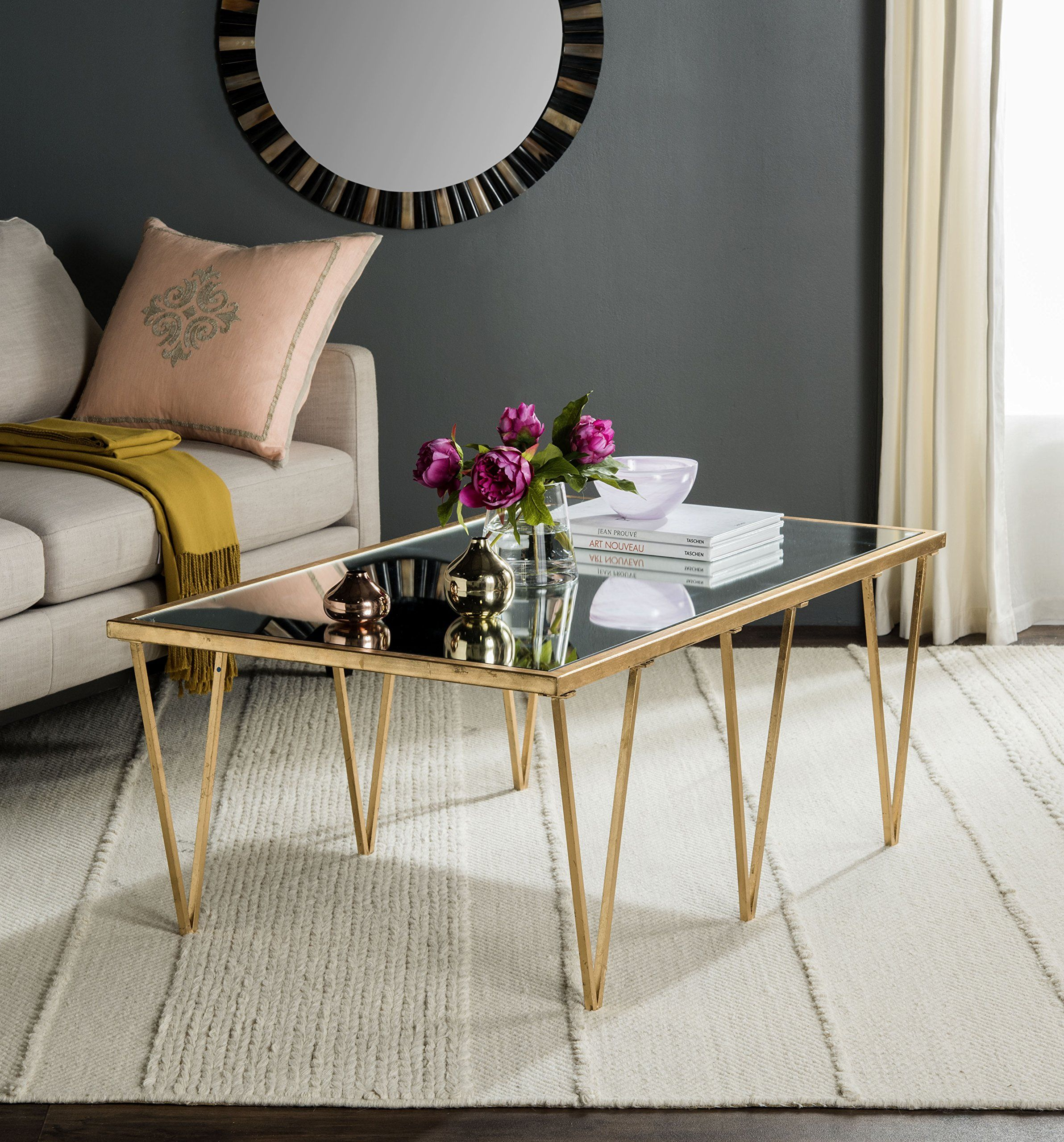Safavieh Home Collection Arlene Gold Coffee Table ** Click Image