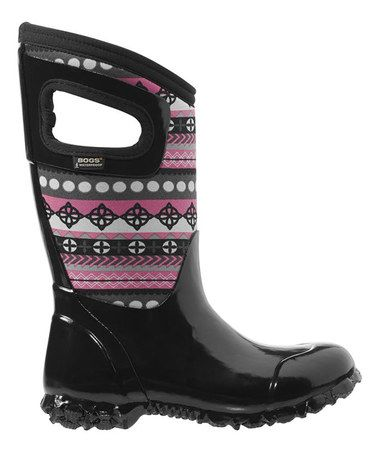 Look what I found on Bogs Black & Pink Pattern Stripes North Hampton Boot  by Bogs