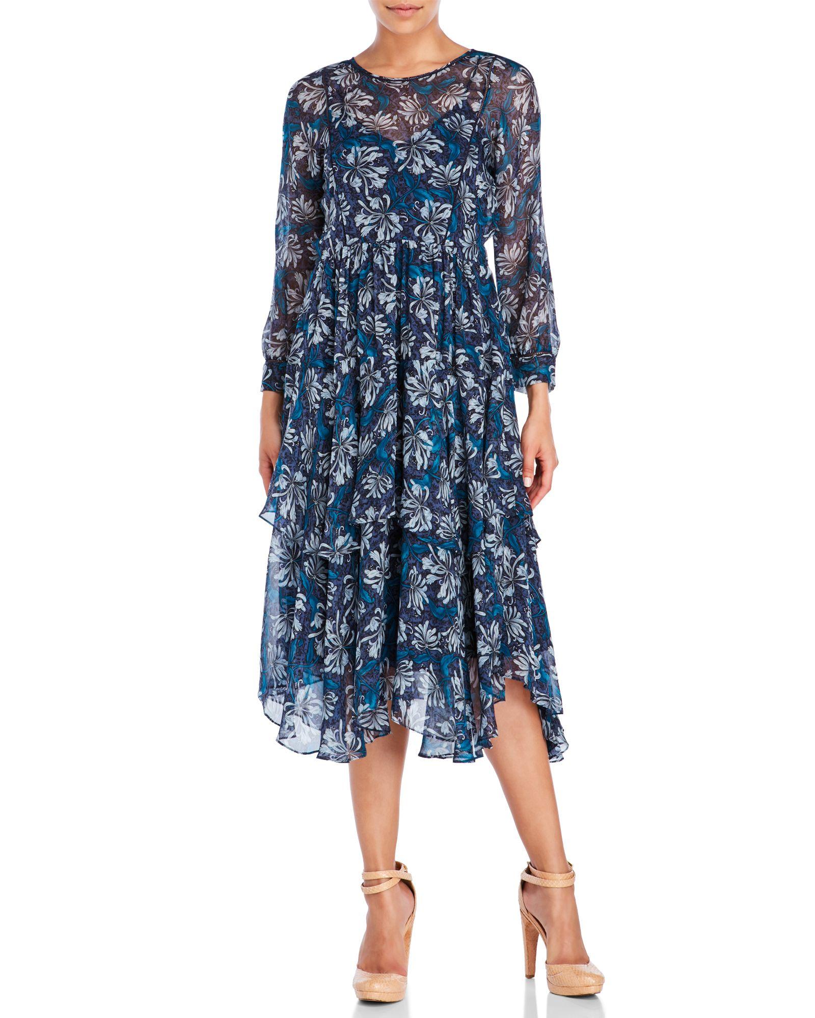 Rebecca Taylor Floral Silk Tiered Dress