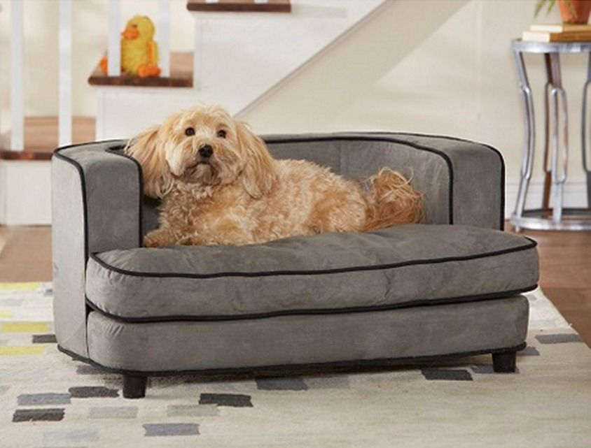 Mini Sofa Dog Bed Pet Furniture Raised Gray Plush Animal Couch Toy Storage New Enchantedhomepet Pet Sofa Bed Plush Pet Bed Dog Sofa Bed