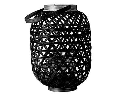 Lanterna con manico in bamboo e vetro Lattice nero