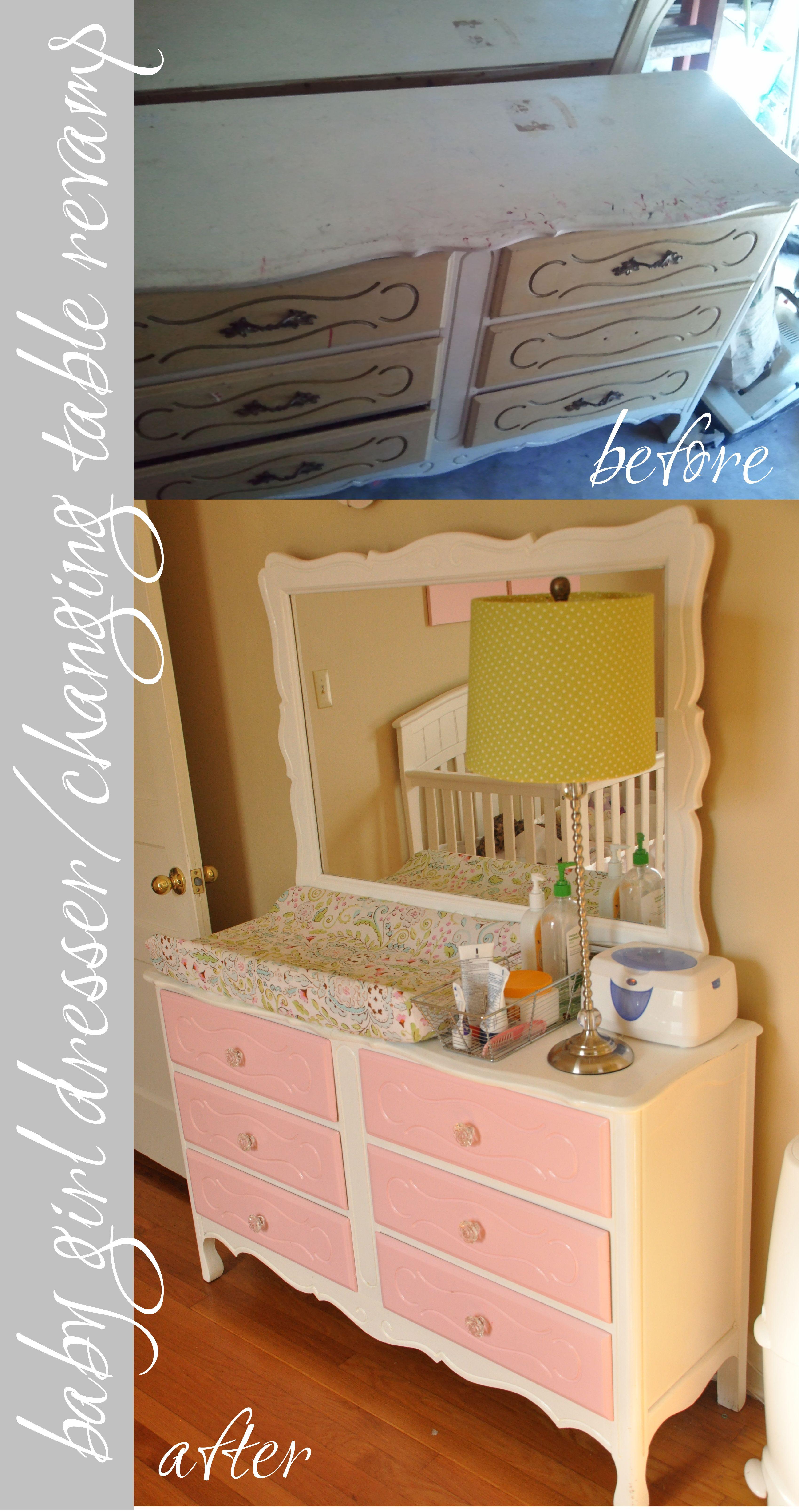 Baby Girl Nursery Dresser / Changing Table Revamp