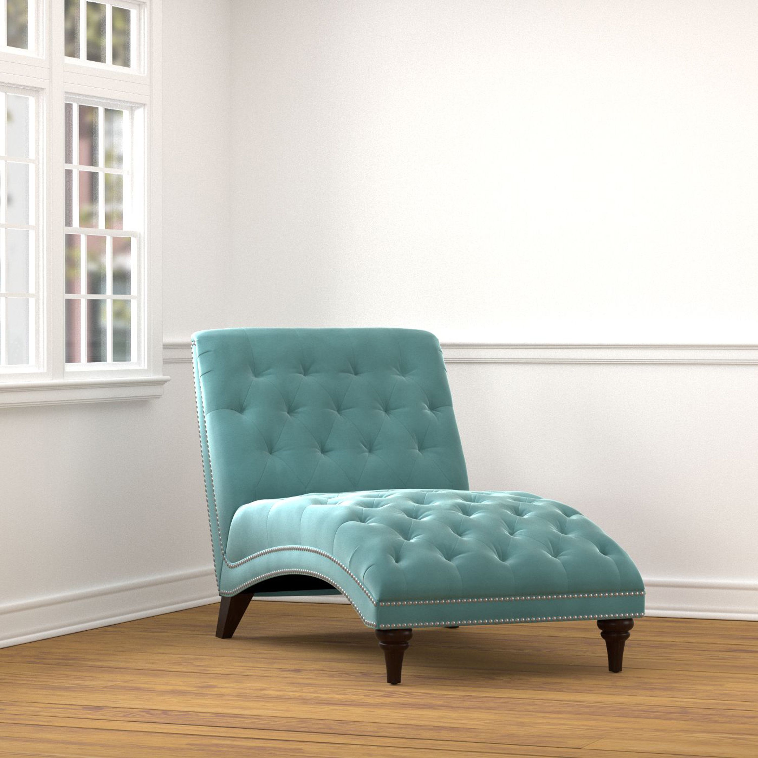 The Portfolio Palermo wide chaise is covered in a soft turquoise ...