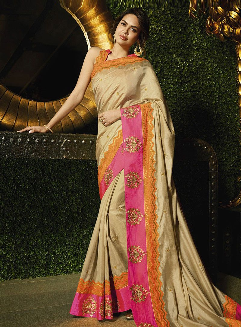 3a4b2af339ce4 Buy Esha Gupta Beige Silk Saree With Blouse 144410 with blouse online at  lowest price from vast collection of sarees at Indianclothstore.com.