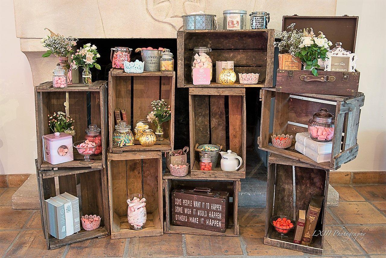 Deco Avec Des Caisses De Pommes candy bar décor caisses à pommes vintage. #candybar