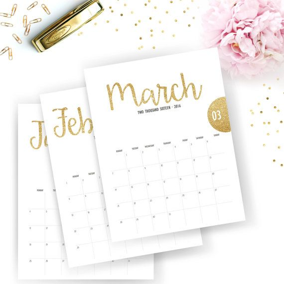 Printable 2016 Monthly Calendar Printable by SunshineParties - free office calendar