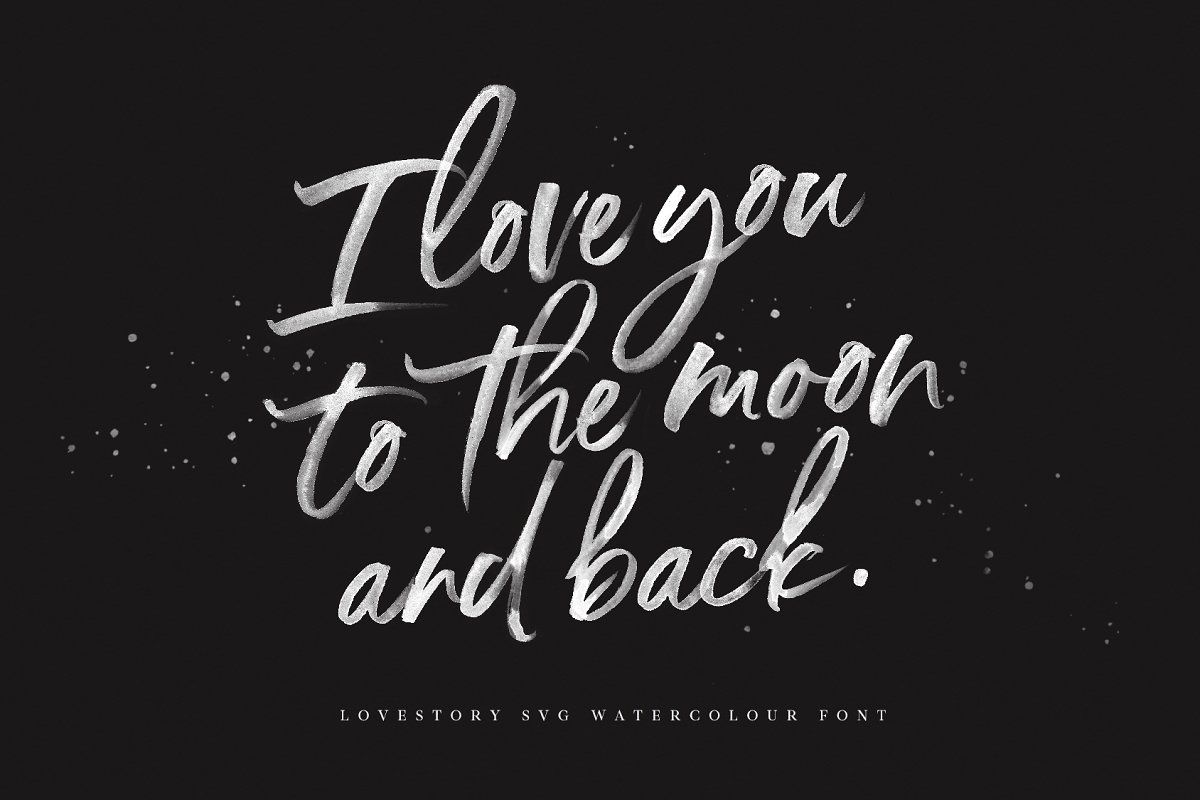 The Lovestory Font Collection Lettering Watercolor Lettering