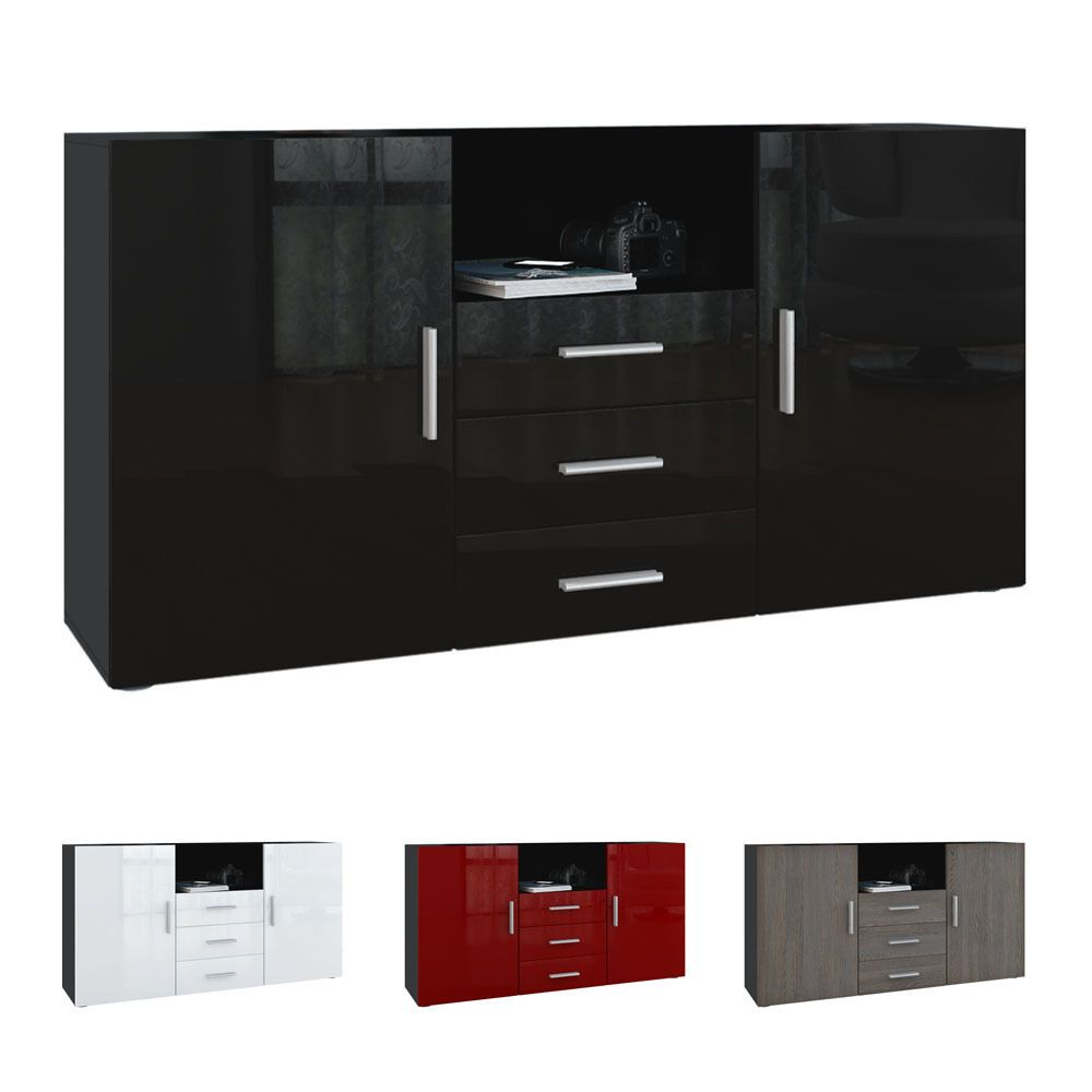 Details about Sideboard Cabinet Chest of Drawers Skadu Black ...