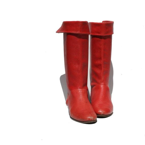 Red Pebbled Italian Leather boots size 7 by TanakaVintage on Etsy, $72.00