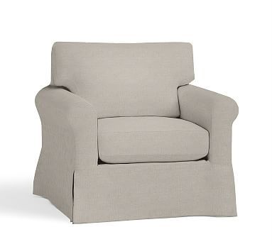 York Roll Arm Slipcovered Armchair, Down Blend Wrapped Cushions, Premium Performance Chunky Basketweave Oatmeal