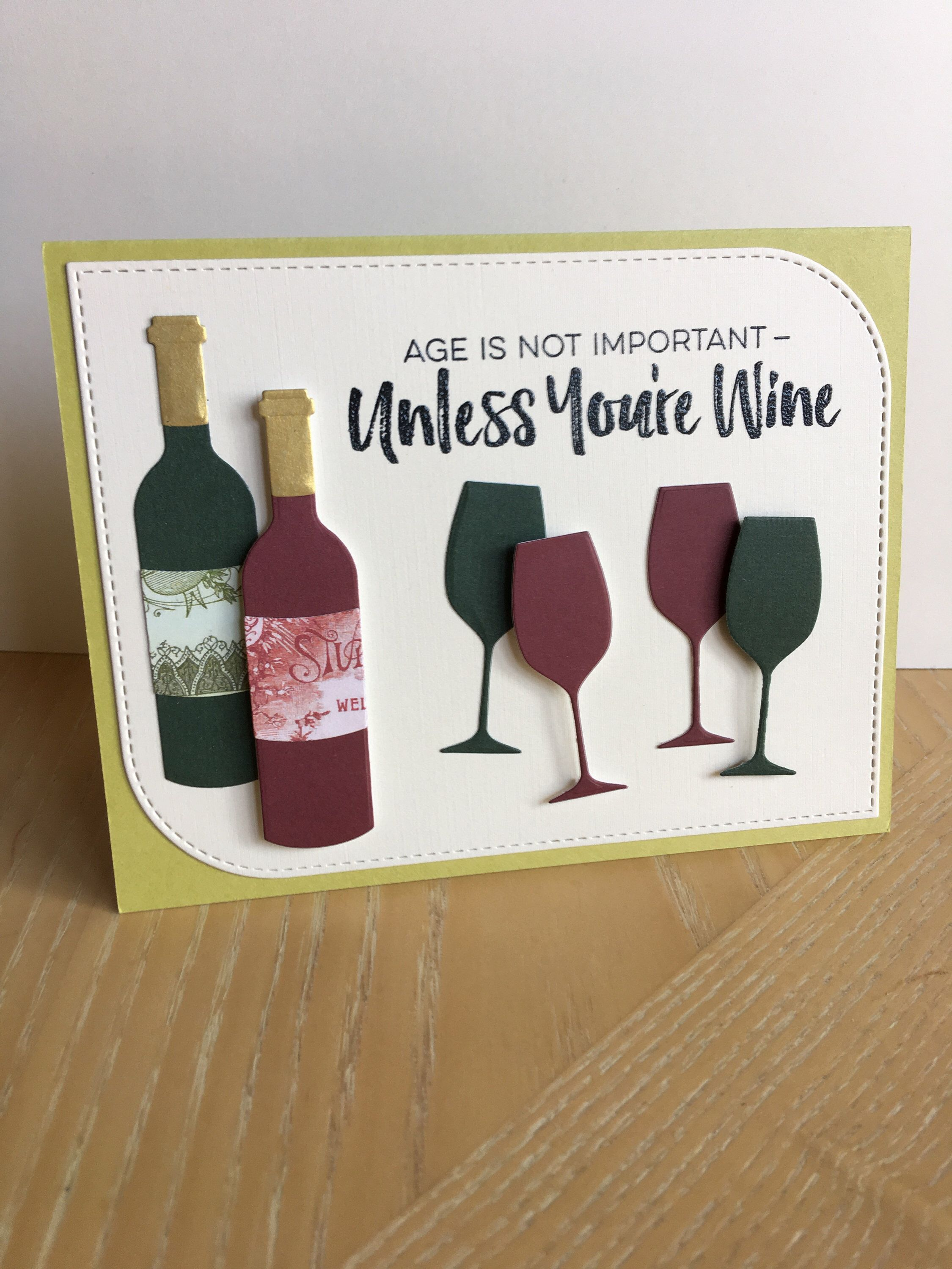 Wine Lover Funny Birthday Cards Handmade Gifts Bottle Stamp A Personal Favorite From My Etsy Shop