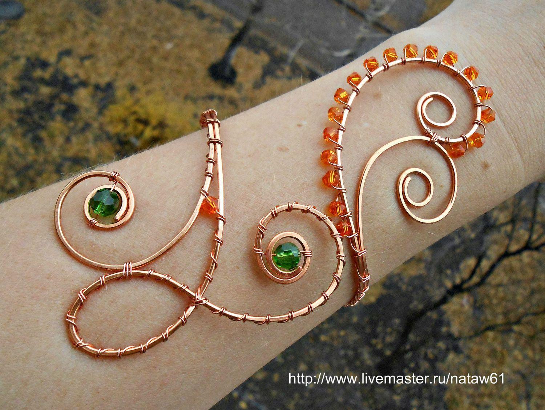 """Купить Браслет """"Лисичка"""" - рыжий, зеленый, рыжий браслет, Браслет ручной работы, браслет из камней"""