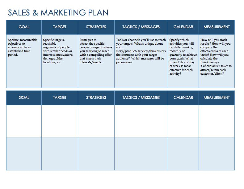 Free Sales Plan Templates  Smartsheet  Career Change