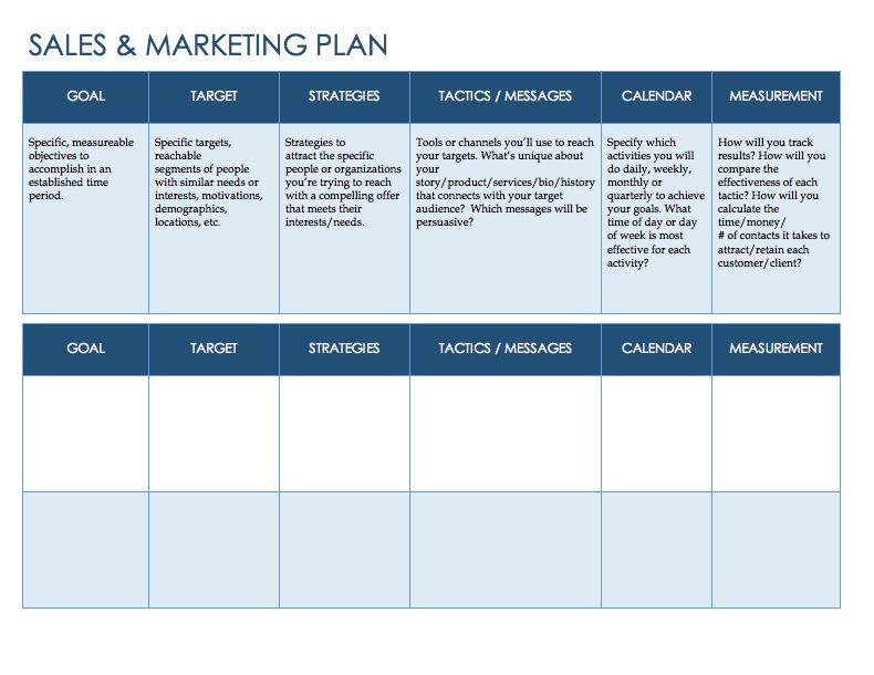 Free Sales Plan Templates - Smartsheet | Coaching | Pinterest